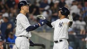 New York Yankees Right Fielder Aaron Judge And Center Fielder Aaron Hicks