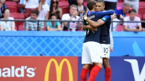 France forwards Antoine Griezmann (7) Kylian Mbappe (10)