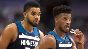 Minnesota Timberwolves players Jimmy Butler and Karl-Anthony Towns