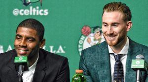 Boston Celtics guard Kyrie Irving and forward Gordon Hayward