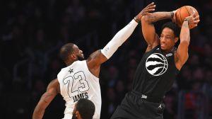 Los Angeles Lakers forward LeBron James and Toronto Raptors guard DeMar DeRozan