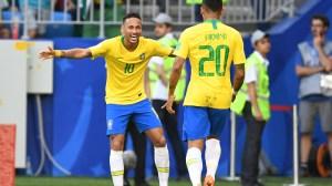 Brazil forwards Neymar and Roberto Firmino